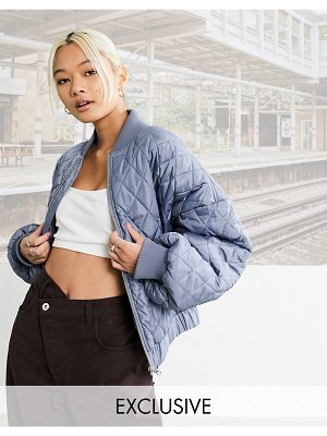Collusion quilted bomber jacket in blue-blues