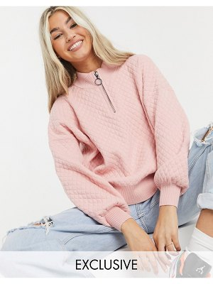 Collusion quilted knit sweater co-ord in light pink-beige