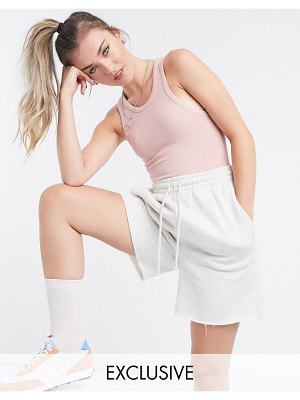 Collusion racer front high neck body in blush pink-brown