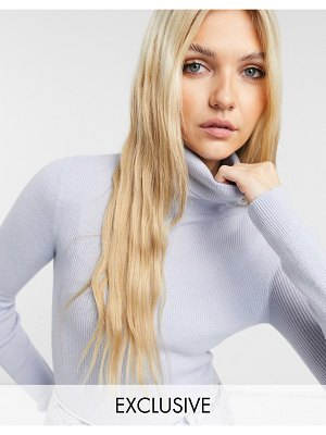 Collusion ribbed roll neck sweater in icy blue-brown