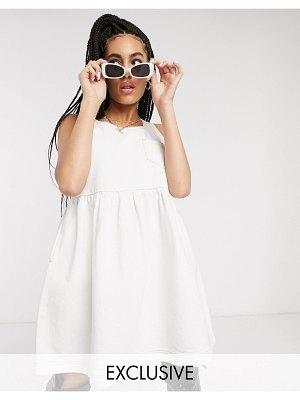 Collusion sleeveless smock dress in white