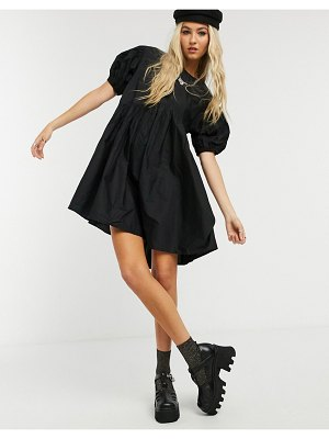 Collusion smock dress in cotton poplin with curved asymmetric seam in black