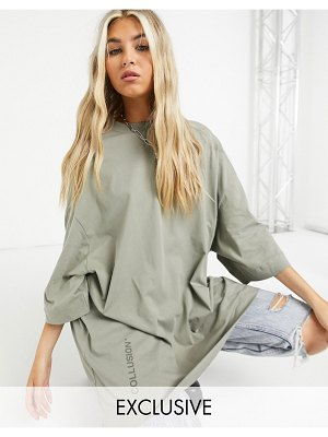 Collusion super oversized t-shirt in pale khaki-green