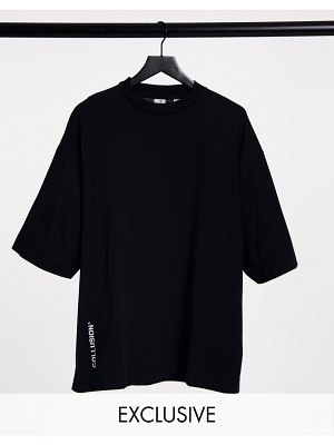 Collusion super oversized t shirt with logo in black