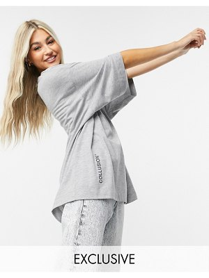 Collusion super oversized t-shirt with logo in gray heather-grey