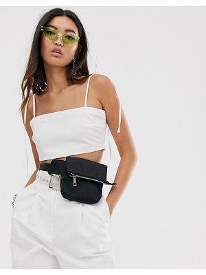 Collusion tailored crop top-white