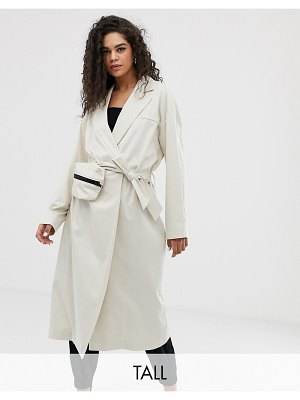 Collusion tall trench coat with removable bag-beige