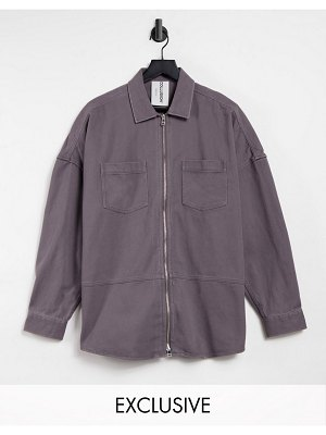 Collusion unisex drop shoulder oversized shirt with double zip detail in washed gray-grey