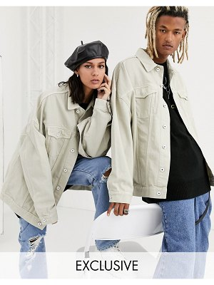 Collusion unisex extreme oversized denim jacket in ecru-white