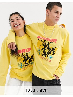 Collusion unisex long sleeve t-shirt with error print in yellow
