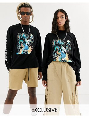 Collusion unisex long sleeve t-shirt with print in black