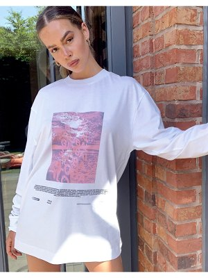 Collusion unisex long sleeve t-shirt with print in white