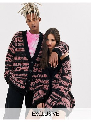 Collusion unisex longline fluffy cardigan with text in black-brown