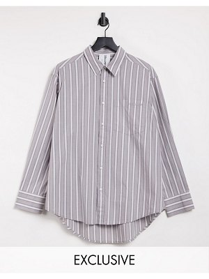 Collusion unisex oversized shirt in gray stripe-grey