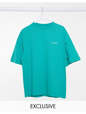 Collusion unisex oversized t-shirt with logo print in teal-green