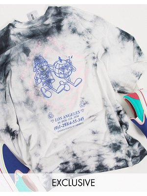 Collusion unisex oversized t-shirt with print in acid wash-multi