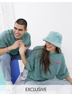 Collusion unisex oversized t-shirt with raised logo print in green