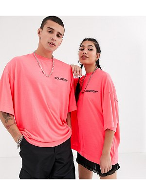 Collusion unisex oversized t-shirt with raised print-pink