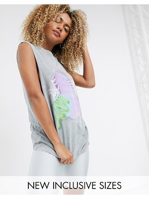 Collusion unisex sleeveless t-shirt with print in gray acid wash