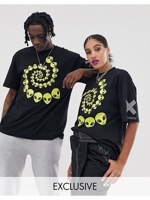 Collusion unisex t-shirt with alien print-black