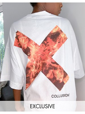 Collusion unisex t-shirt with flame logo print in white