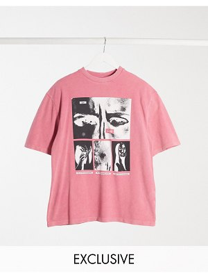 Collusion unisex t-shirt with print in pink acid wash pique