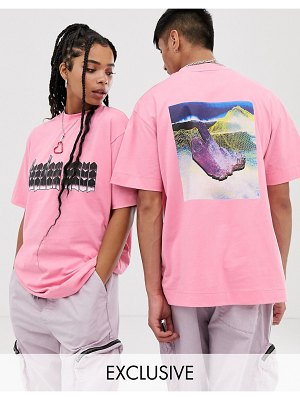 Collusion unisex t-shirt with print in pink