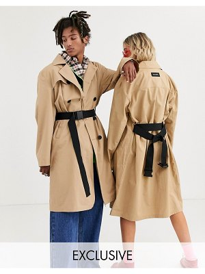 Collusion unisex trench coat with belt-brown