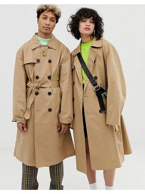Collusion unisex trench coat-beige