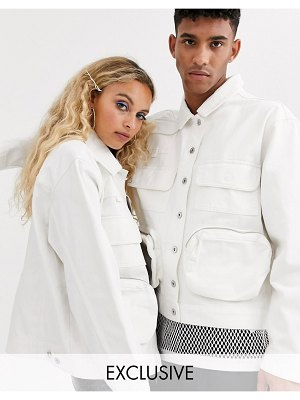 Collusion unisex utility multi pocket jacket-white