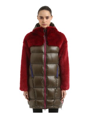 COLMAR ORIGINALS Faux fur & nylon down coat