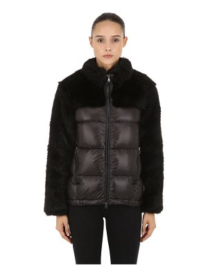 COLMAR ORIGINALS Faux fur & nylon down jacket