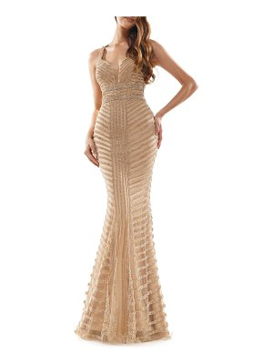 Colors Dress beaded stripe mesh mermaid gown