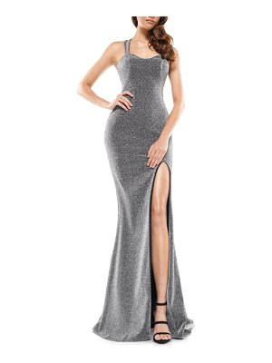 Colors Dress glitter sweetheart neck side slit gown
