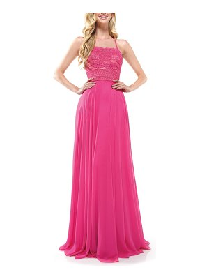 Colors Dress lace strappy back chiffon gown