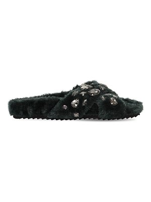 COLORS OF CALIFORNIA 20mm embellished faux fur slide sandals