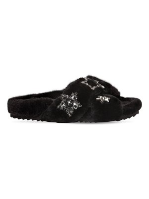 COLORS OF CALIFORNIA 20mm stars faux fur slide sandals