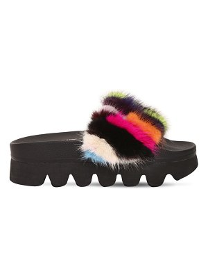 COLORS OF CALIFORNIA 60mm mink fur wedge slide sandals