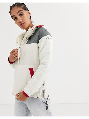 Columbia lodge pullover jacket in beige-cream