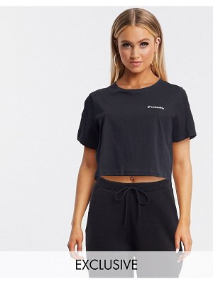 Columbia north cascades back print crop t-shirt in black exclusive at asos
