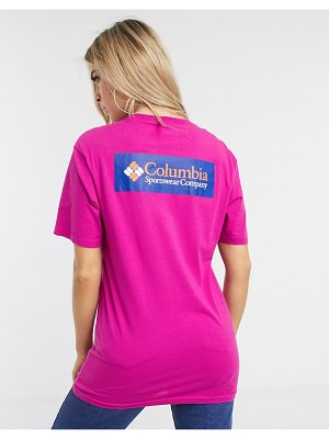 Columbia north cascades back print t-shirt in pink exclusive at asos