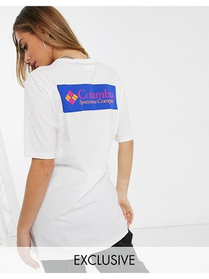Columbia north cascades t-shirt in white with back logo exclusive at asos