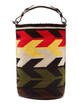COLVILLE arrow large leather-trim woven bucket bag