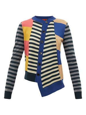 COLVILLE asymmetric striped wool cardigan