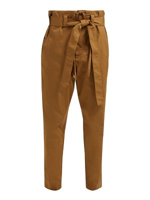 COLVILLE belted high rise cotton gabardine trousers