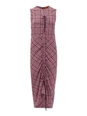 COLVILLE drawstring-ruched checked crepe dress
