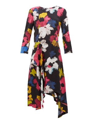 COLVILLE handkerchief-hem floral-print satin dress