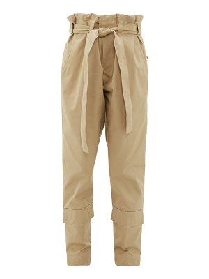 COLVILLE paperbag waist belted cotton twill trousers