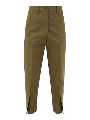 COLVILLE slit-cuff cotton and linen-blend cargo trousers