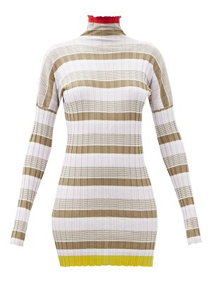 COLVILLE striped rib-knitted cotton-blend dress